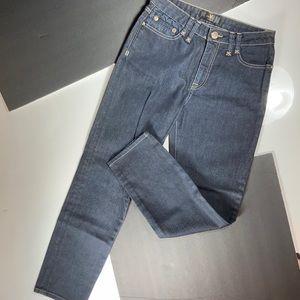 Votre Nom Dark Wash Straight Jeans, Gold Topstitch